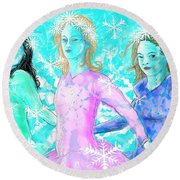 The Snowflake Ladies Round Beach Towel