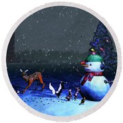The Snowman's Visitors Round Beach Towel by Ken Morris