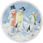 The Snowmen's Party Round Beach Towel by David Cooke