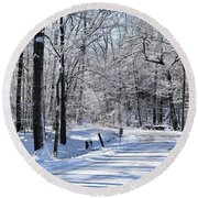 The Snowy Road 1 Round Beach Towel