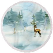 The Soft Arrival Of Winter Round Beach Towel by Colleen Taylor