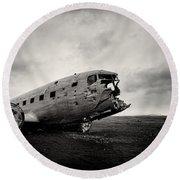The Solheimsandur Plane Wreck Round Beach Towel by Tor-Ivar Naess