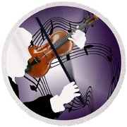 Round Beach Towel featuring the sculpture The Soloist by Steve Karol