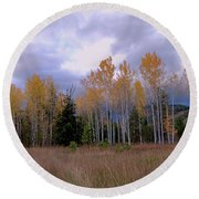 The  Song Of The Aspens 2 Round Beach Towel