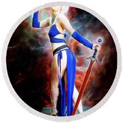The Sorceress And The Sword Round Beach Towel