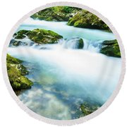 The Soteska Vintgar Gorge, Gorje, Near Bled, Slovenia Round Beach Towel
