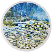 Round Beach Towel featuring the painting The Sound Of The Rain by Evelina Popilian