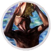The Sound Of The Sea Round Beach Towel