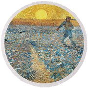 Round Beach Towel featuring the painting 		The Sower by Vincent van Gogh