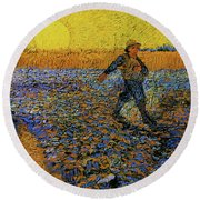 Round Beach Towel featuring the painting The Sower by Van Gogh
