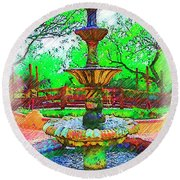 The Spanish Courtyard Fountain Round Beach Towel