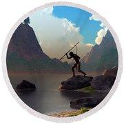 Round Beach Towel featuring the digital art The Spear Fisher by Daniel Eskridge