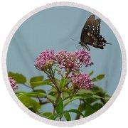 The Spicebush Swallowtail Of Prettyboy Reservoir Round Beach Towel by Donald C Morgan
