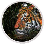 The Spirit Of The Tiger  Round Beach Towel