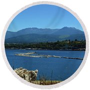 Round Beach Towel featuring the photograph The Spit by Tikvah's Hope