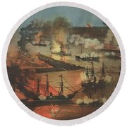 The Splendid Naval Triumph On The Mississippi, April 24th, 1862  Round Beach Towel