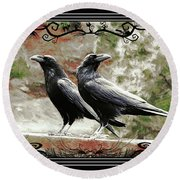 The Spooky Ravens Round Beach Towel