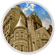 Round Beach Towel featuring the photograph The Stafford Hotel by Brian Wallace