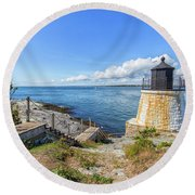 The Stairs To Castle Hill Lighthouse Round Beach Towel