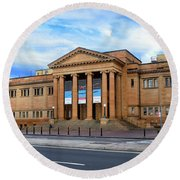 Round Beach Towel featuring the photograph The State Library Of New South Wales By Kaye Menner by Kaye Menner