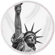 The Statue Of Liberty In New York City 3 Round Beach Towel