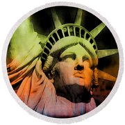 The Statue Of Liberty Round Beach Towel by Kim Gauge