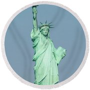 The Statue Of Liberty On Liberty Island In New York Harbor Round Beach Towel
