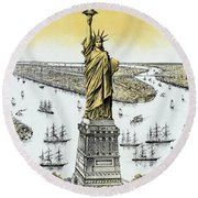 The Statue Of Liberty - Vintage Round Beach Towel