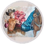 The Steer Wrestler Round Beach Towel