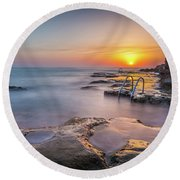 The Steps At Sunrise. Round Beach Towel