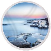 Round Beach Towel featuring the photograph The Steps Into The Sea by Gary Gillette