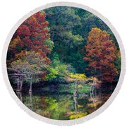 The Stillness Of The River Round Beach Towel by Inge Johnsson
