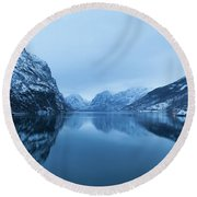 The Stillness Of The Sea Round Beach Towel