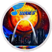 The Stl Blues Round Beach Towel