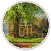Round Beach Towel featuring the photograph The Stone Cottage On A Spring Evening by Lois Bryan