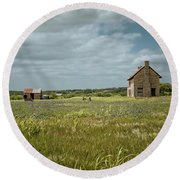 Round Beach Towel featuring the photograph The Stone House by Linda Unger