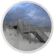 The Storm Is Here Round Beach Towel