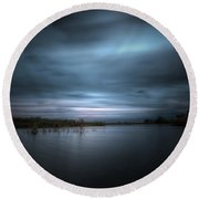 Round Beach Towel featuring the photograph The Storm by Mark Andrew Thomas