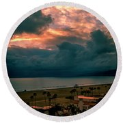 The Storm Moves On Round Beach Towel