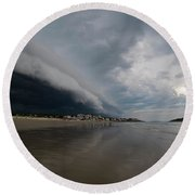 The Storm Rolling In To Good Harbor Beach Gloucester Ma Round Beach Towel