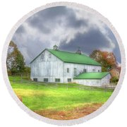 Round Beach Towel featuring the digital art The Storms Coming by Sharon Batdorf