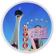 The Stratosphere Casino In Front Of The Holiday Motel Sign Round Beach Towel by Aloha Art