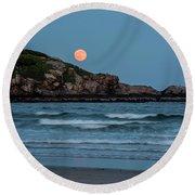 The Strawberry Moon Rising Over Good Harbor Beach Gloucester Ma Island Round Beach Towel