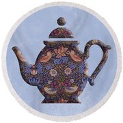 The Strawberry Thief Pattern Teapot Round Beach Towel
