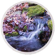 The Stream In Fall Round Beach Towel