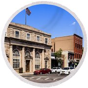 The Street In Mamaroneck Round Beach Towel