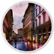 The Streets Of Florence Round Beach Towel