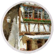 The Streets Of Strasbourg Round Beach Towel