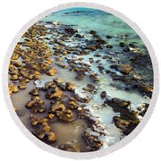 Round Beach Towel featuring the photograph The Stromatolite Family Enjoying Its 1277500000000th Sunset by T Brian Jones