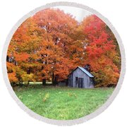 Round Beach Towel featuring the photograph The Sugar Shack by Pat Purdy